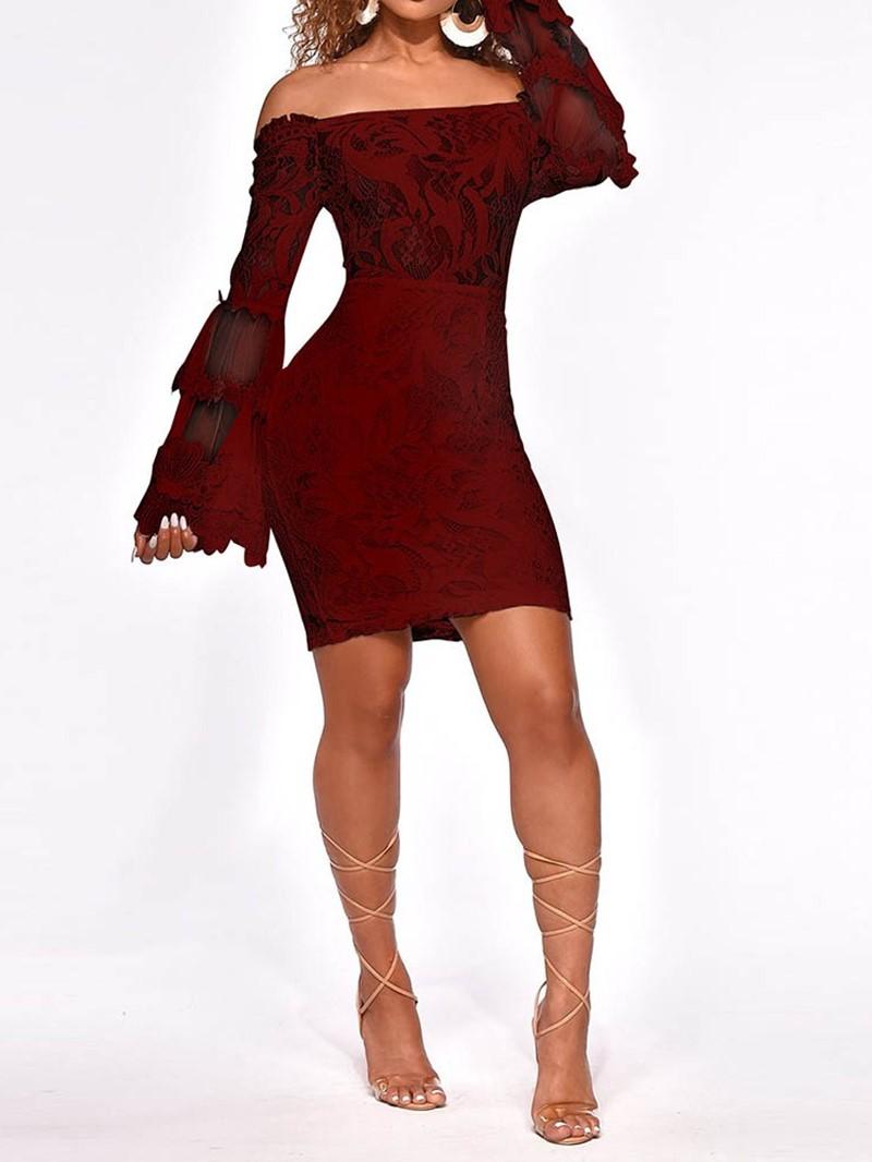 Ericdress Above Knee Lace Off Shoulder Mid Waist Plant Dress