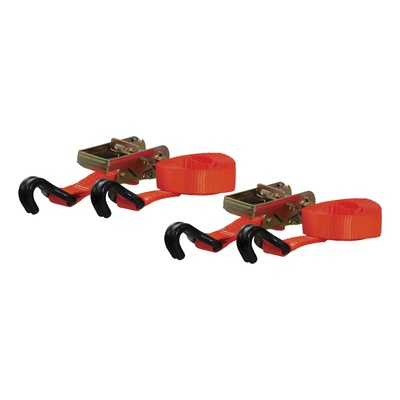 Curt Manufacturing 16' Cargo Straps with J-Hooks, 2 Pack (Orange) - 83026