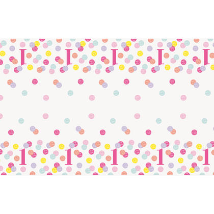 Pink Dots 1st Birthday Rectangular Plastic Table Cover, 54