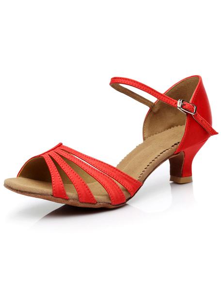 Milanoo Latin Dance Sandals Straps Orange Trendy Satin Heels for Women