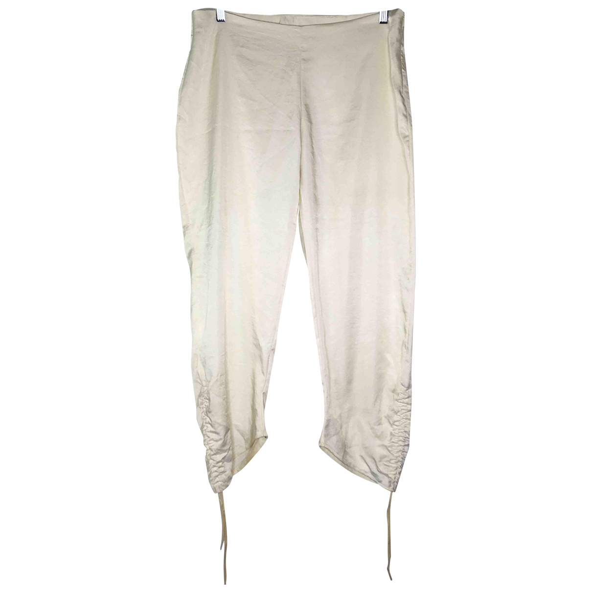 Non Signé / Unsigned \N Ecru Silk Trousers for Women 40 FR