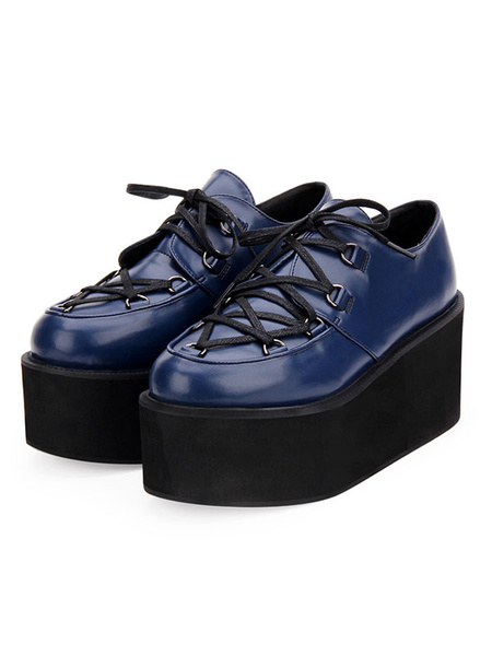 Milanoo Gothic Lolita Shoes Black Flatform Lace Up Round Toe PU Leather Lolita Pumps