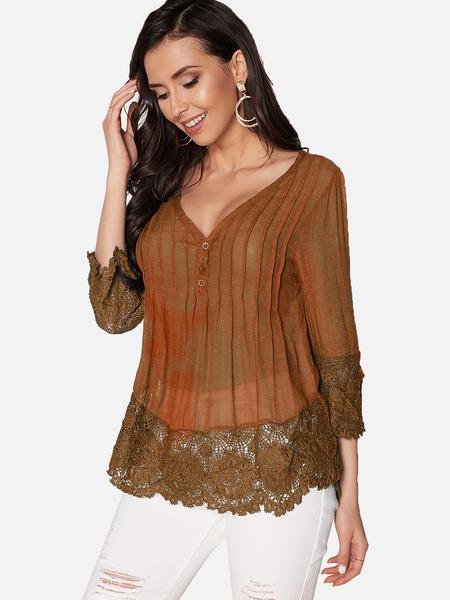 Yoins Orange Pleated Design V-neck 3/4 Length Sleeves Lace Hem Blouse