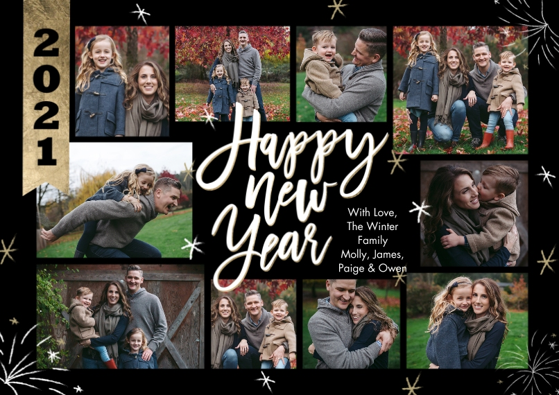 New Year's Photo Cards 5x7 Cards, Premium Cardstock 120lb with Rounded Corners, Card & Stationery -New Year 2021 Banner Collage by Tumbalina