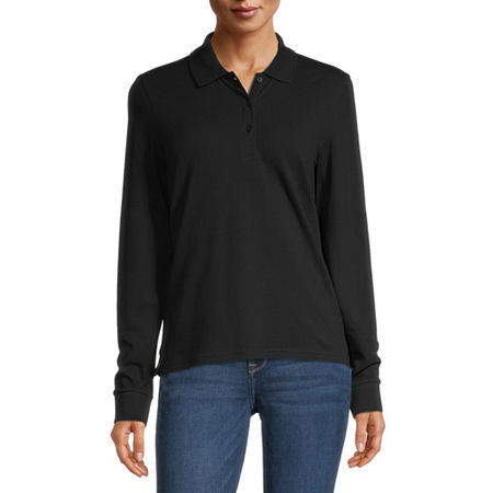 Arizona Juniors Womens Long Sleeve Knit Polo Shirt, Small , Black