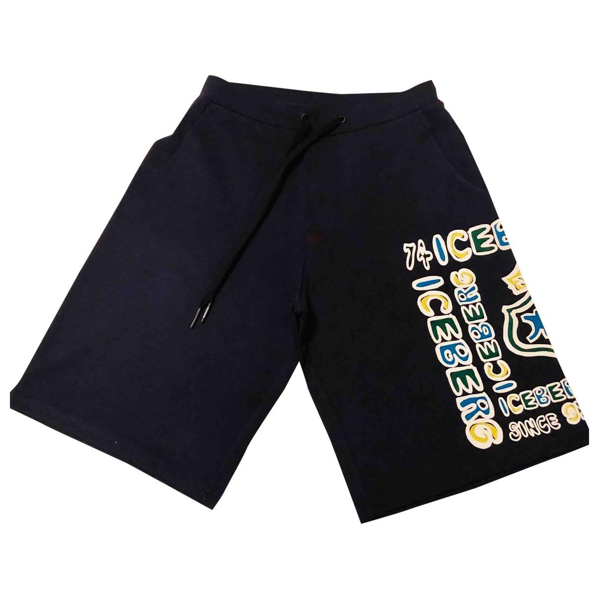 Iceberg \N Blue Cotton Trousers for Men L International