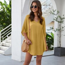V-neck High Low Hem Longline Blouse