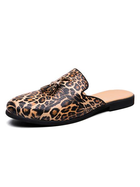 Milanoo Men\'s Sandals Slip-On Artwork PU Leather Rubber Sole Leopard Men\'s Sandals
