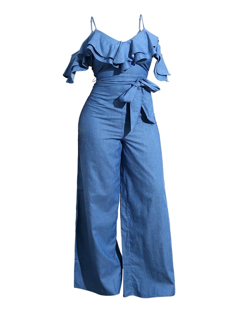 Women's Clothing Wide Leg Denim Strap Jumpsuit