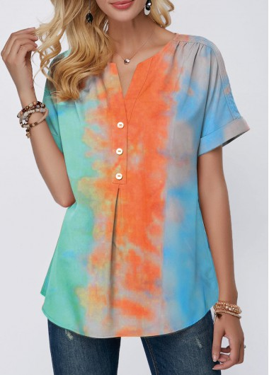 Rosewe Women T Shirt Color Block Tie Dye Short Sleeve Casual - M