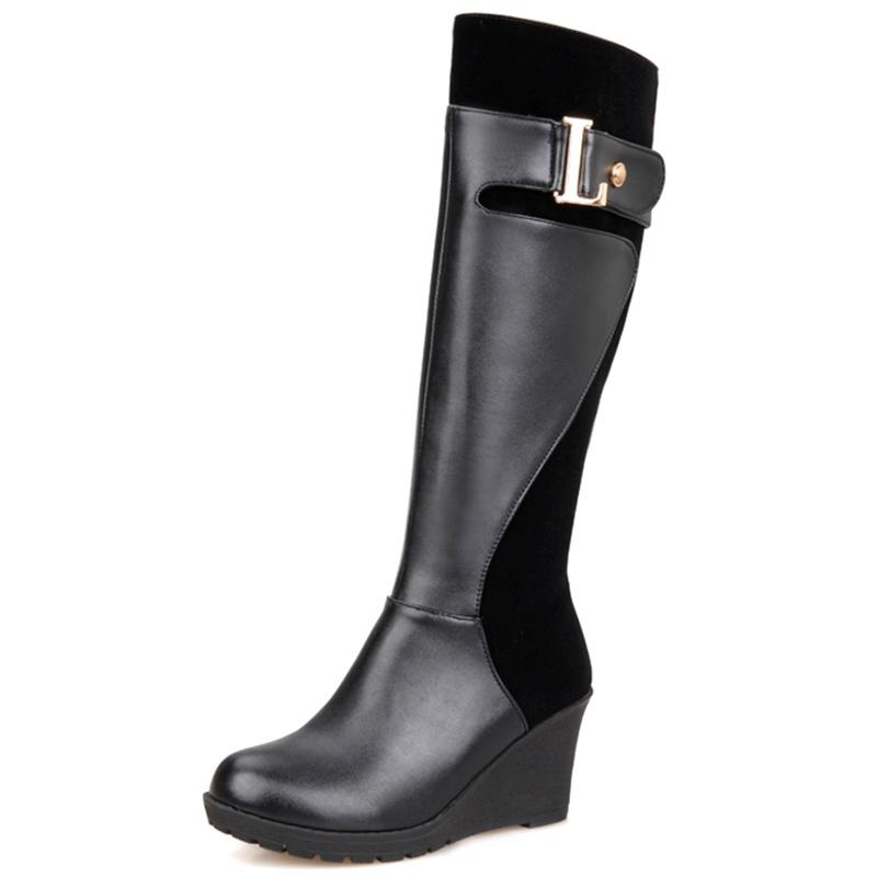 Ericdress European Round Toe Wedge Heel Knee High Boots
