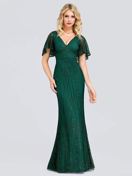 Milanoo Evening Dress A Line V Neck Matte Satin Floor Length Pleated Formal Dinner Dresses