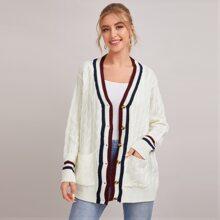 Drop Shoulder Pocket Front Striped Cable Knit Sweater Coat