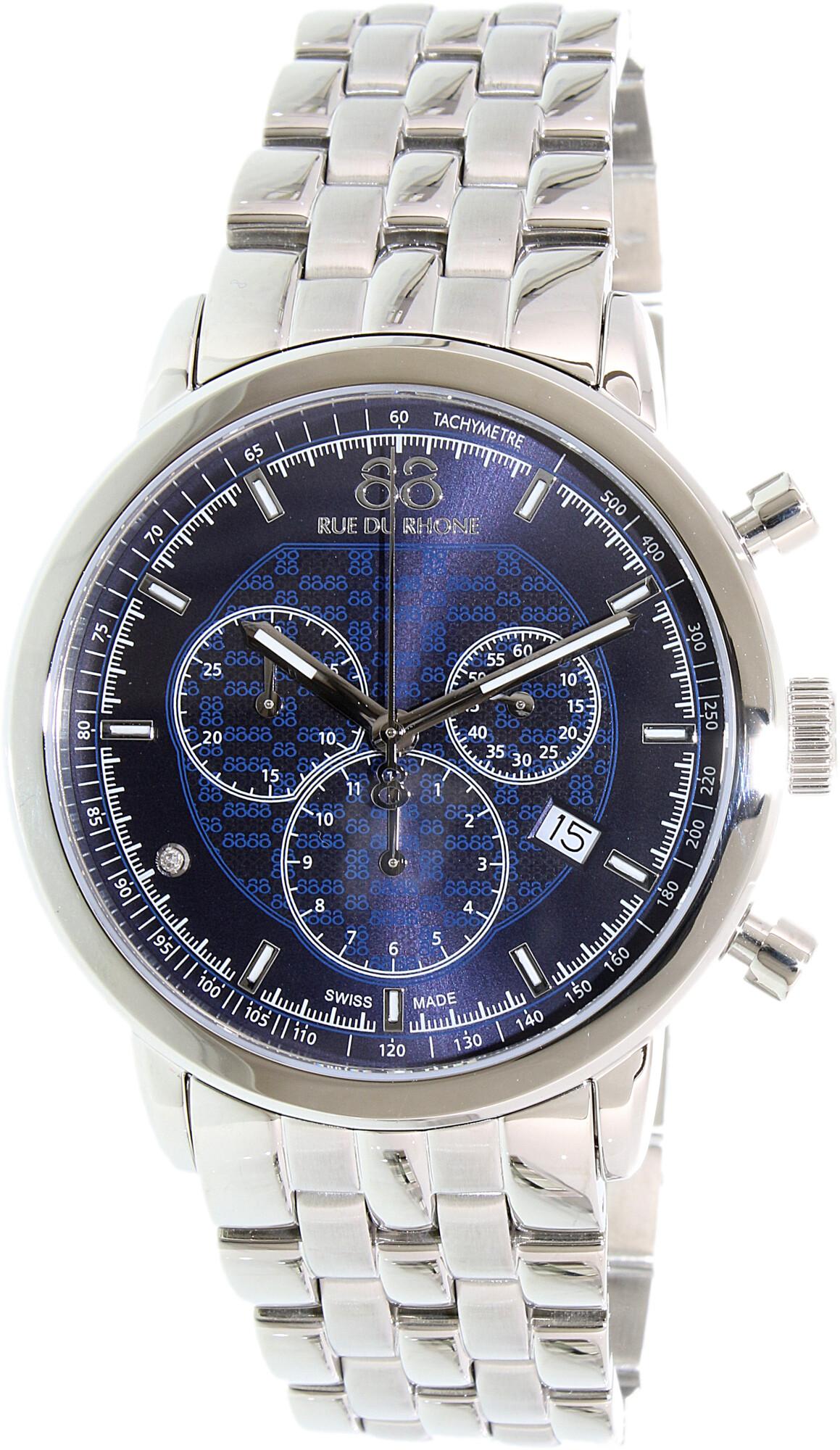 88 Rue Du Rhone Men's Double 8 87WA154205 Silver Stainless-Steel Plated Swiss Quartz Dress Watch