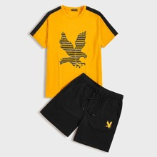 Guys Eagle Print Contrast Sideseam Tee and Track Shorts Set