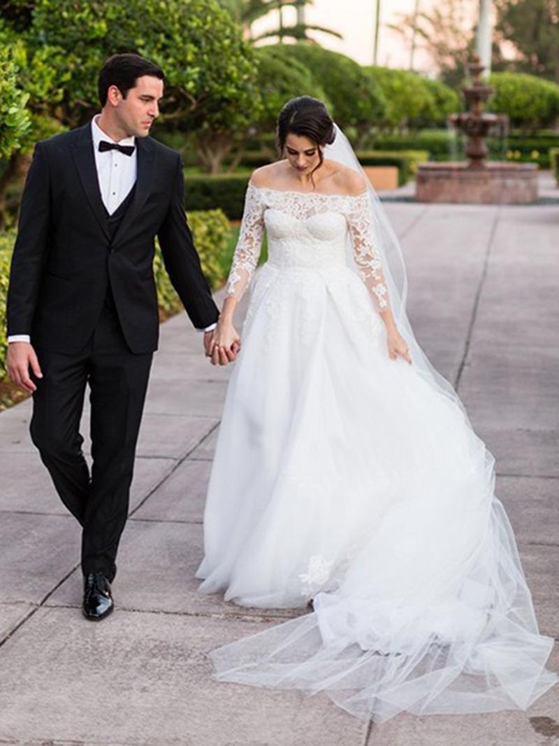 Ericdress Lace 3/4 Length Sleeves Wedding Dress