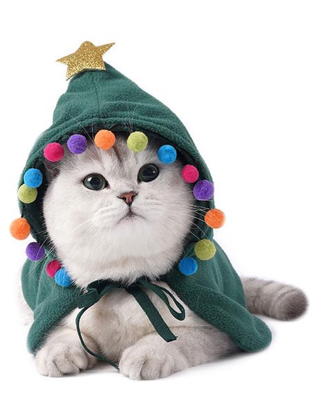 Milanoo Pet Costume Christmas Scraf Teal Cloak Polyester Pet Supply