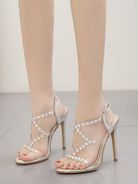 Milanoo High Heel Sandals Womens Rhinestones Criss Cross Open Toe Stiletto Heel Sandals