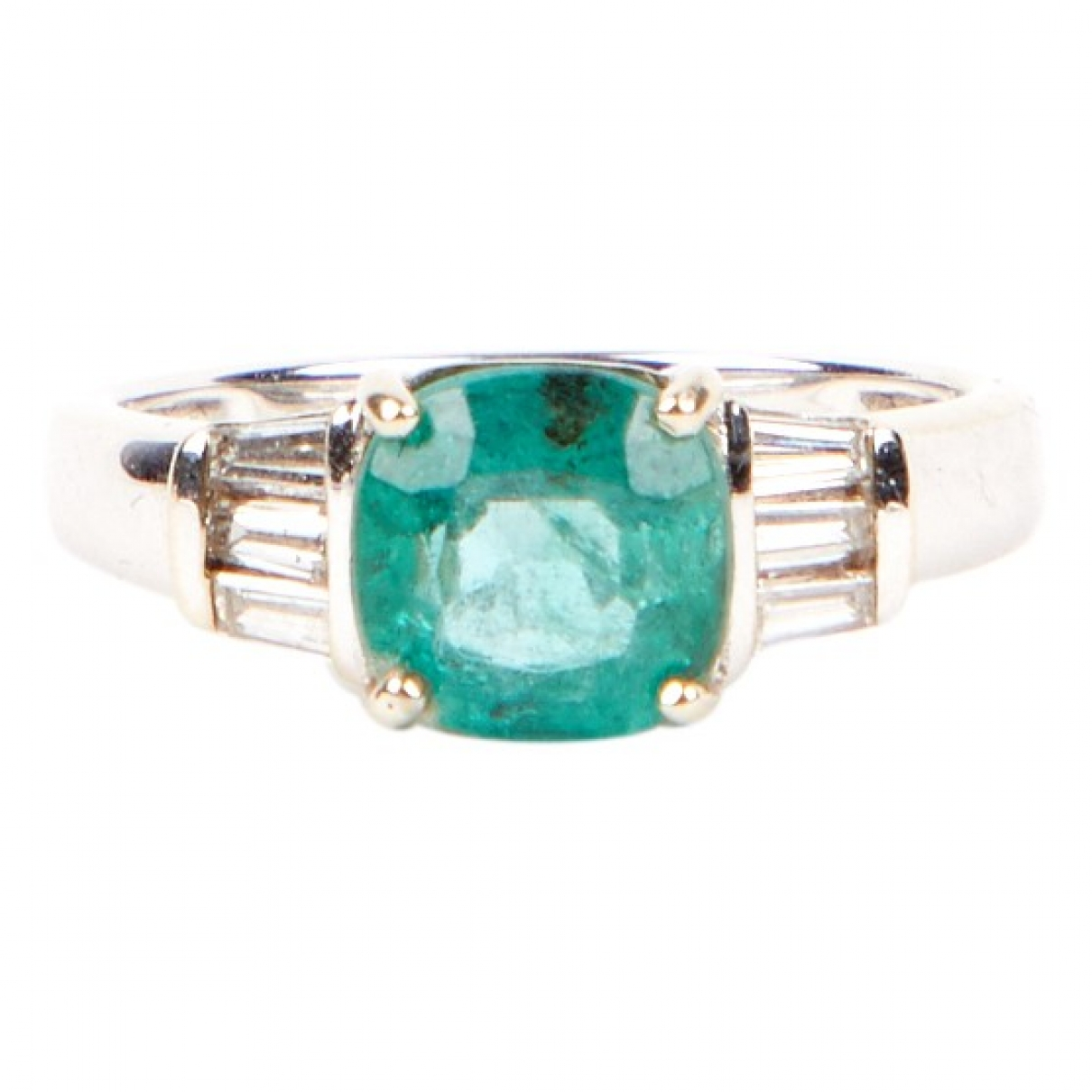 Non Signé / Unsigned Aigues-Marines Turquoise White gold ring for Women 53 MM