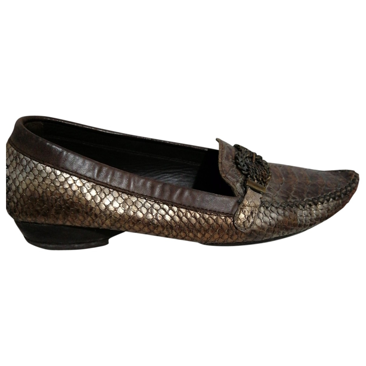 Stuart Weitzman \N Brown Python Flats for Women 38 EU