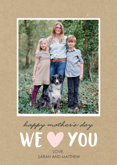 Mother's Day Cards 5x7 Folded Cards, Premium Cardstock 120lb, Card & Stationery -Mom's Day Love You