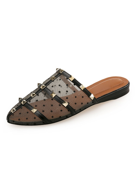 Milanoo Women Mules Shoes Black Round Toe Patchwork Rivets Backless Flat Shoes