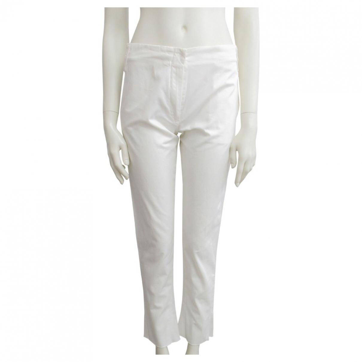 Jil Sander \N White Cotton Trousers for Women XS