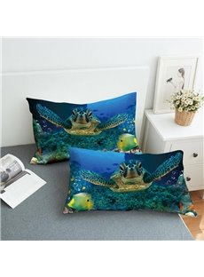 Sea Turtles Roaming The Underwater World Reactive Printing 2-Piece Polyester Pillowcase