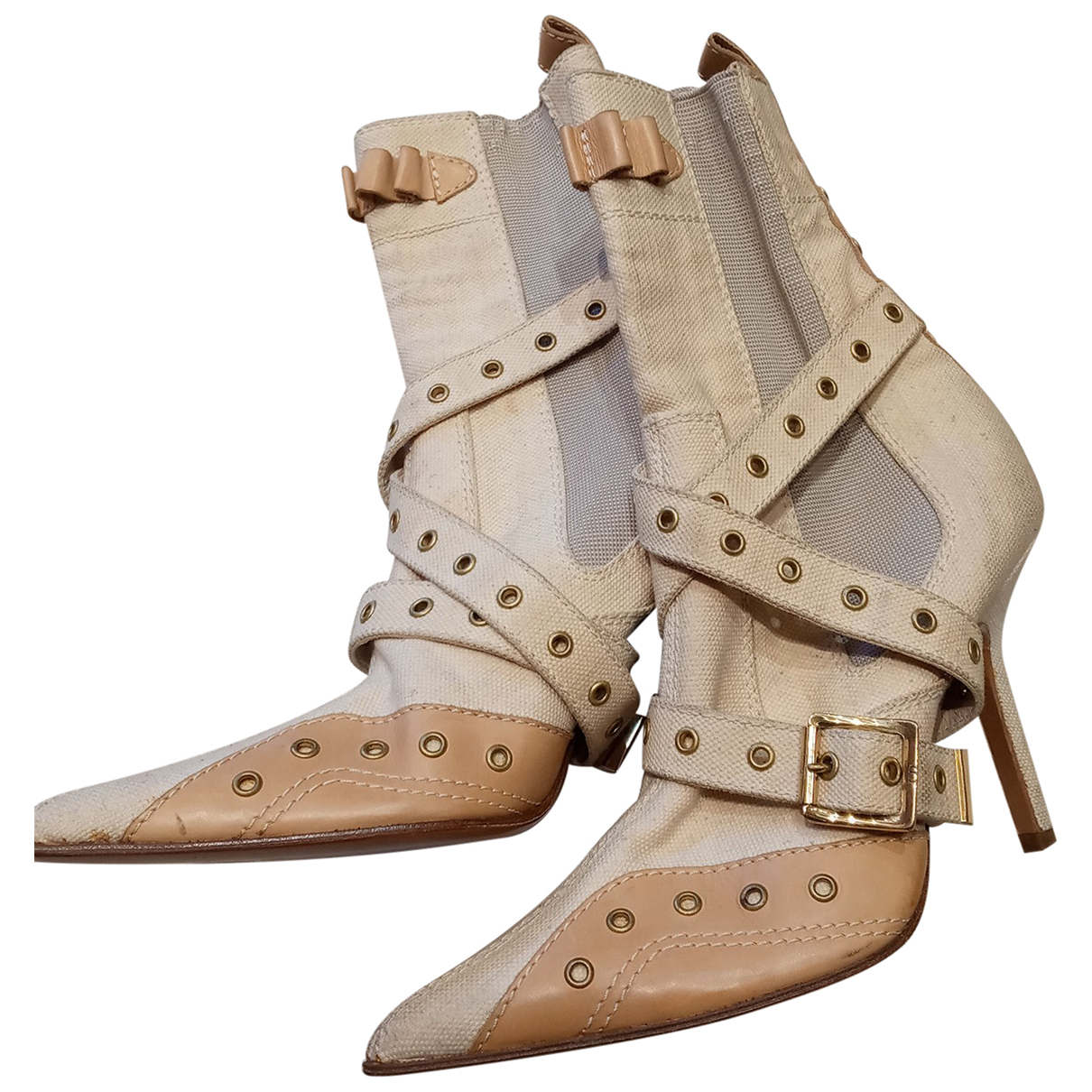 Dior \N Beige Cloth Ankle boots for Women 39 EU