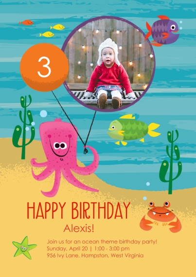 Kids Birthday Party Invites 5x7 Cards, Premium Cardstock 120lb, Card & Stationery -Under the Sea Birthday