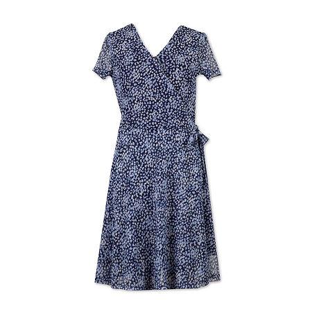 Speechless Big Girls Short Sleeve Wrap Dress, 7 , Blue