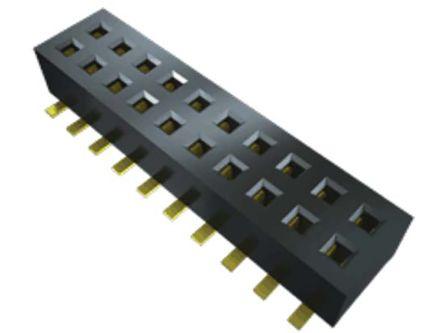 Samtec , CLP 1.27mm Pitch 12 Way 2 Row Vertical PCB Socket, Surface Mount, Solder Termination (37)