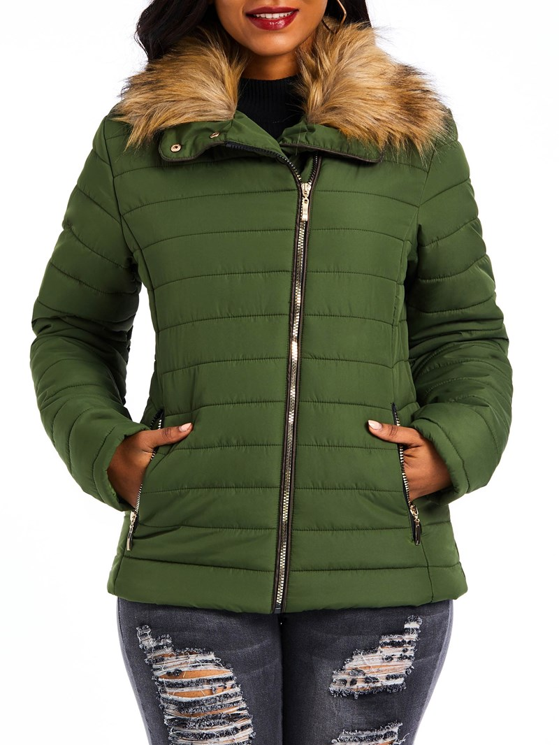 Ericdress Zipper Slim Thick Standard Cotton Padded Jacket