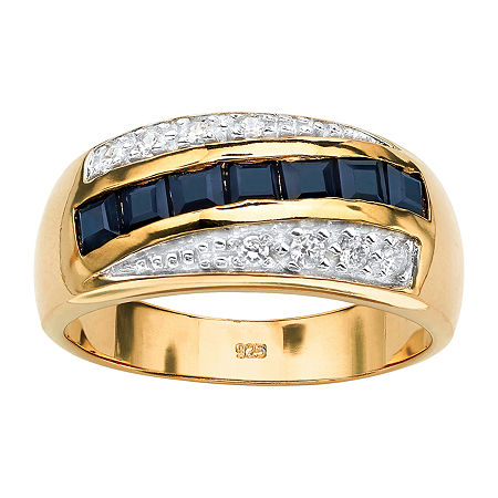 Mens 2 CT. T.W. Genuine Blue Sapphire 18K Gold Over Silver Fashion Ring, 12 , No Color Family