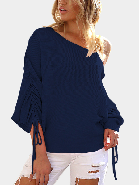 Yoins Navy Lace-up Design One Shoulder Long Sleeves Sweaters