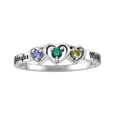 Womens Genuine Multi Color Stone 14K Gold Heart 3-Stone Cocktail Ring, 10 1/2 , No Color Family