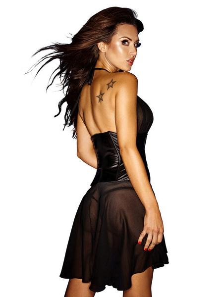Milanoo Sexy Club Dress Chiffon Black Halter Sleeveless Semi-Sheer Skater Dress