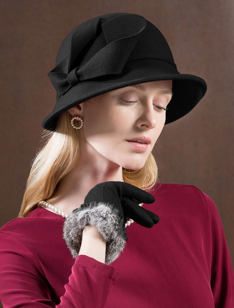Milanoo Wool Cloche Hat Retro Red Felt Hat Women Royal Hair Accessories Winter Vintage Headpieces