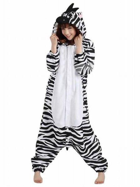 Milanoo Kigurumi Pajamas Zebra Onesie For Adult Unisex Fleece Flannel Black White Animal Costume Halloween