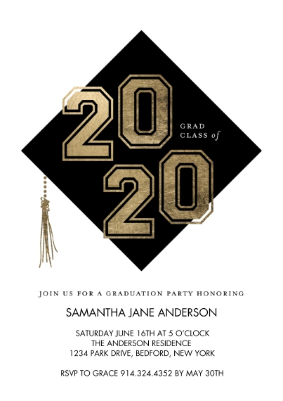 Graduation Invitations 5x7 Cards, Premium Cardstock 120lb, Card & Stationery -Graduation Party 2020 Numbers by Tumbalina