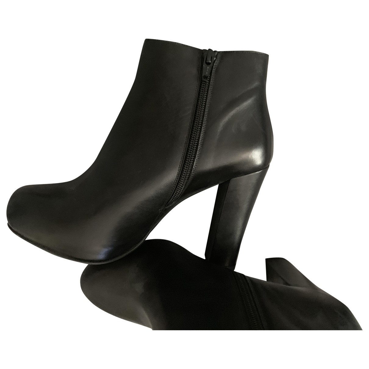 Pollini \N Black Leather Ankle boots for Women 38 EU