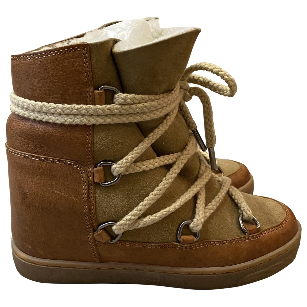 Isabel Marant Nowles Camel Leather Ankle boots for Women 35 EU