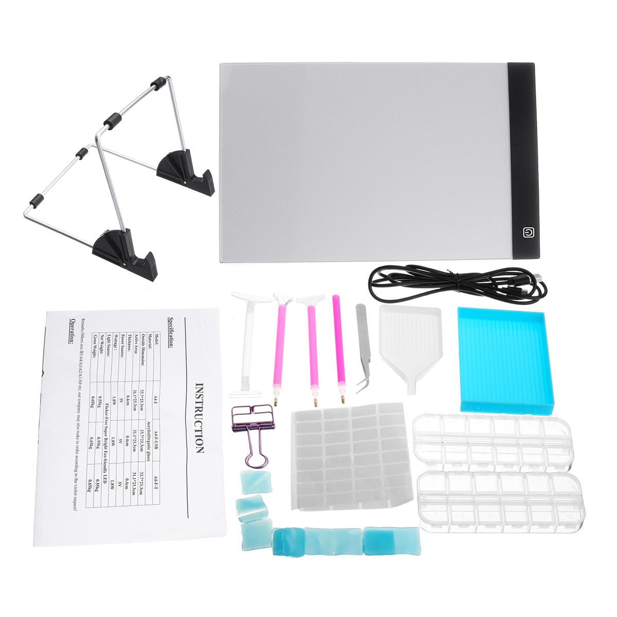 24xA4 LED Pad Tablet Board 5D Diamond Painting Tools Kit Embroider Cross Stitch
