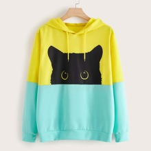 Plus Cut And Sew Cartoon Graphic Hoodie