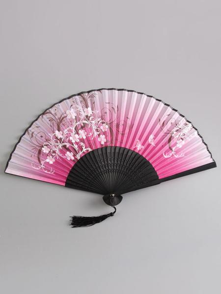 Milanoo Fan Kimono Floral Print Tassel Costume Accessories