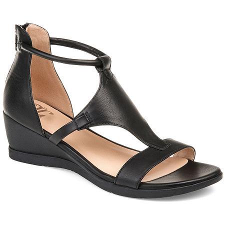 Journee Collection Womens Trayle Wedge Sandals, 11 Medium, Black
