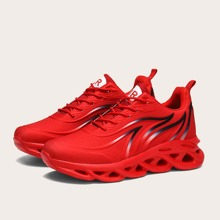 Men Lace-up Front Flame Pattern Sneakers