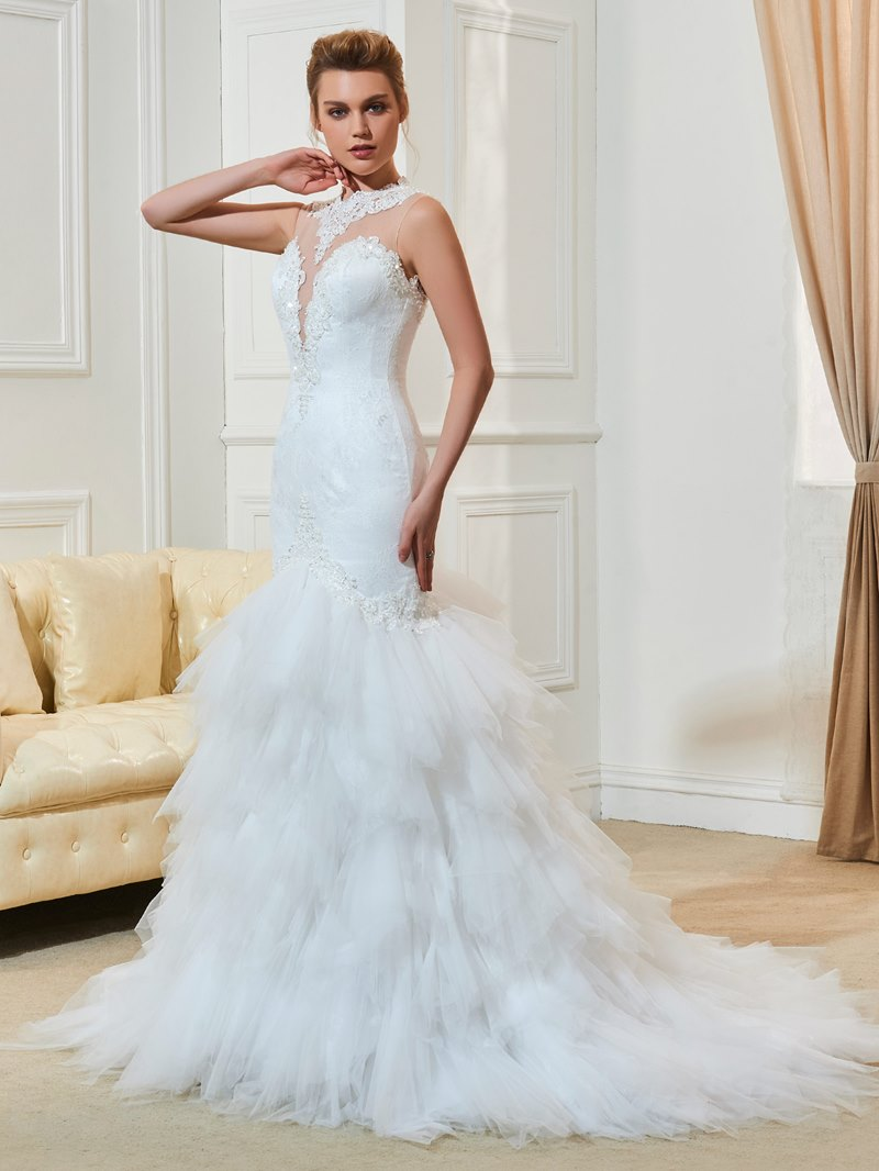 Ericdress Tiered Mermaid Lace Appliques Wedding Dress
