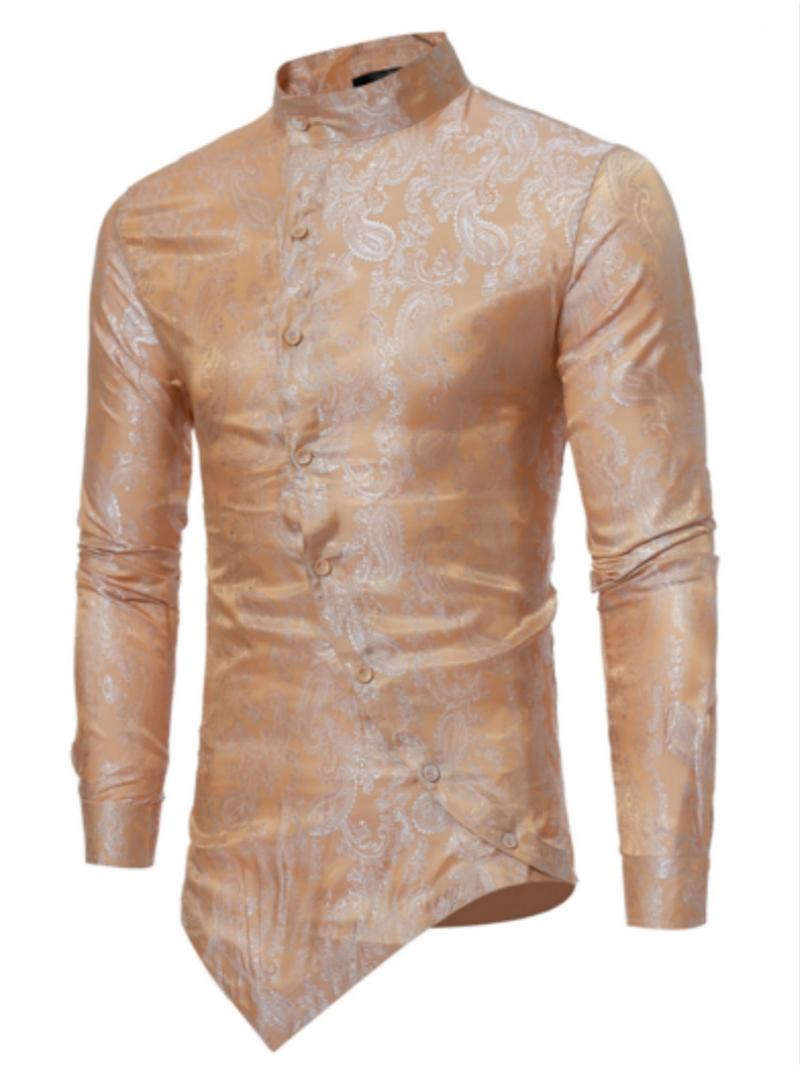 Ericdress Stand Collar Irregular Print Slim Men's Shirt