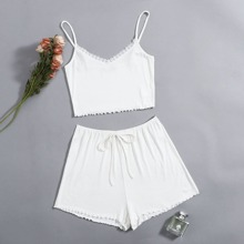 Lace Trim Cami Top and Tie Front Shorts PJ Set